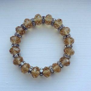 Amber & silver diamond beaded elastic bracelet